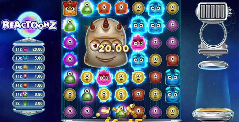 reactoonz casino bonus screenshot
